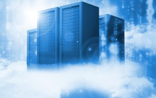 Data servers resting on clouds in blue
